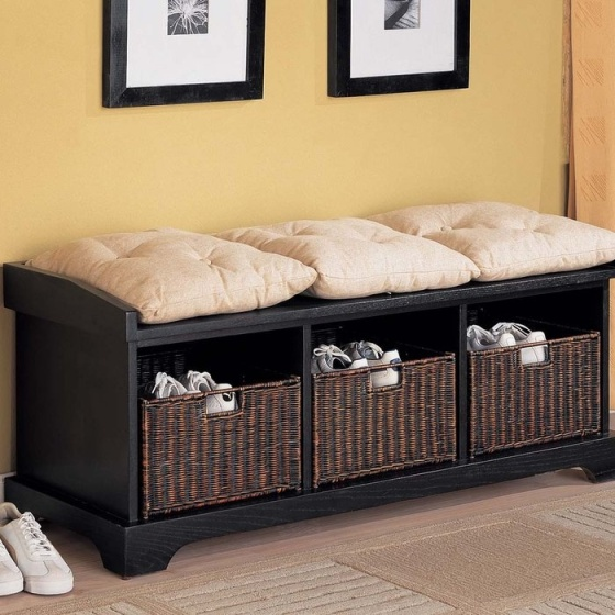 Storage Bench with Baskets - Brookstone
