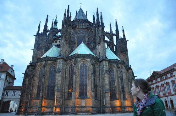 St. Vitus Cathedral at night.